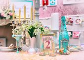 stock photo of wedding table decor  - Table with beautiful decorations for a wedding - JPG