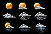 image of windy weather  - Set of the weather forecast related icons - JPG