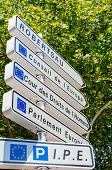 foto of human rights  - Road sign in European Capital of Strasbourg on corner with direction to Council of Europe European Court of human Rights and European Parliament buildings - JPG