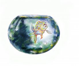 picture of fishbowl  - Exotic fish in a round fishbowl hand drawn illustration over white - JPG