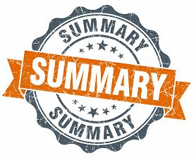 picture of summary  - summary vintage orange seal isolated on white - JPG