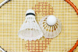 image of game-cock  - equipment badminton Shutter Cock on a brown background, ** Note: Soft Focus at 100%, best at smaller sizes - JPG