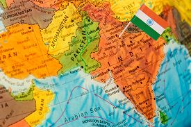 picture of indian flag  - map with miniature flag of India - JPG