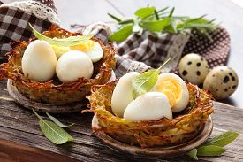 picture of boil  - Boiled quail eggs in baked nests of potatoes - JPG