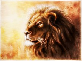 stock photo of airbrush  - A beautiful airbrush painting of a lion head with a majesticaly peaceful expression with fractal efect - JPG