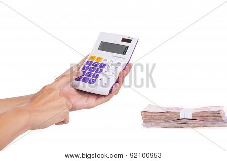 Female Businessman Using A Calculator On White Background