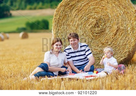 Mother, Father And Little Son, Kid Boy Having Picnic