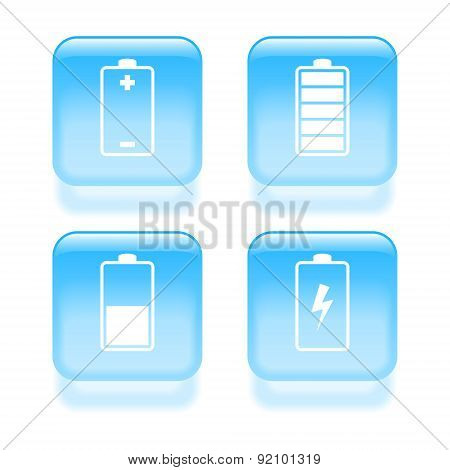 Glassy Battery Icons. Vector Illustration