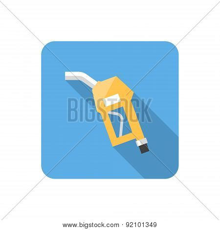 Flat Fuel Pump Nozzle Icon With Long Shadow. Vector Illustration