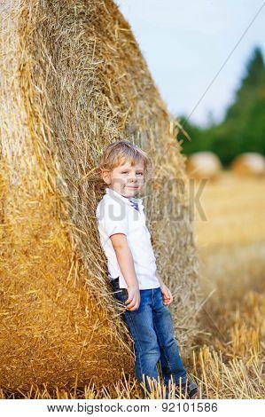 Cute Blond Little Kid Boy Having Fun On Hay Field