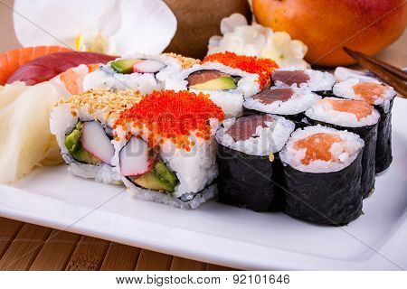 Delicious Sushi With Caviar Wasabi And Chopsticks