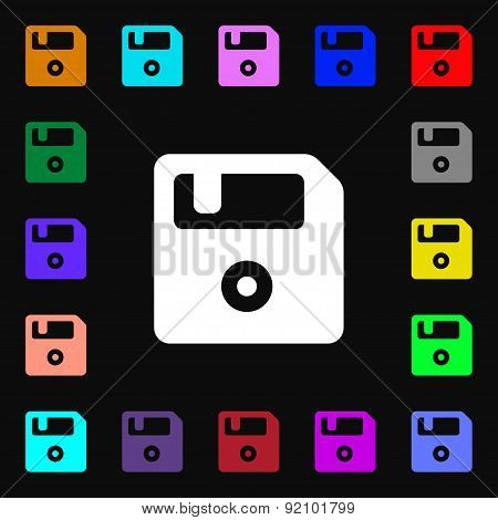Floppy Icon Sign. Lots Of Colorful Symbols For Your Design. Vector