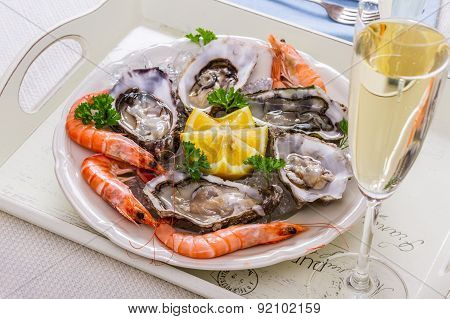 Champagne Glass, Oysters Shell With Shrimp On Serving Tray