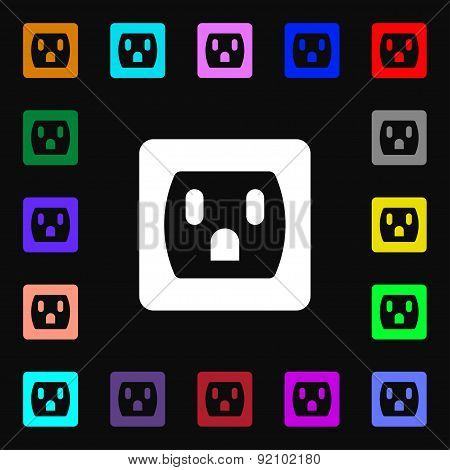 Electric Plug, Power Energy Icon Sign. Lots Of Colorful Symbols For Your Design. Vector