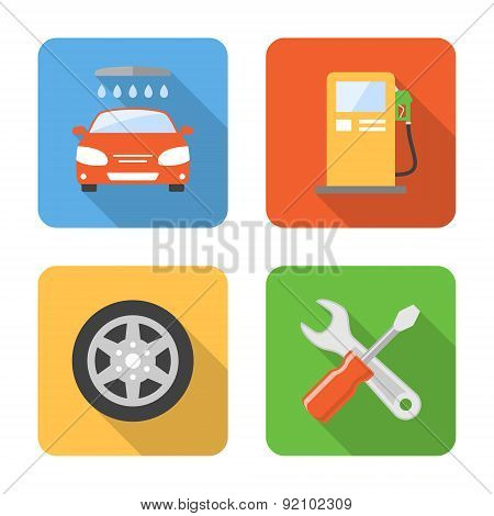 Flat Car Service Icons With Long Shadows. Vector Illustration