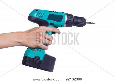 Hand With Cordless Screwdriver Or Drill Isolated On A White Background