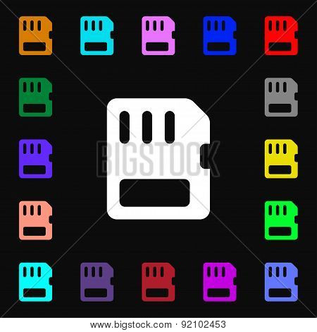 Compact Memory Card Icon Sign. Lots Of Colorful Symbols For Your Design. Vector