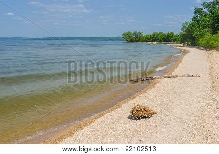 Empty beach on a Dnepr river