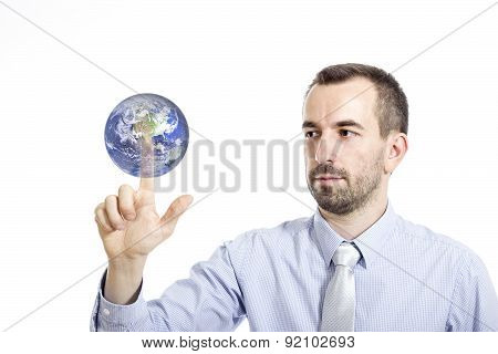 Young Buinessman Touching Globe