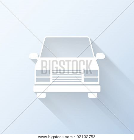 Flat Minibus Icon With Long Shadow. Vector Illustration