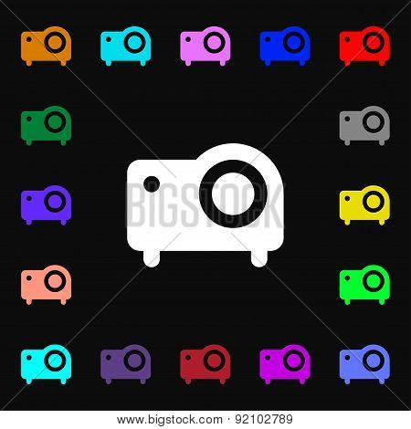 Projector Icon Sign. Lots Of Colorful Symbols For Your Design. Vector