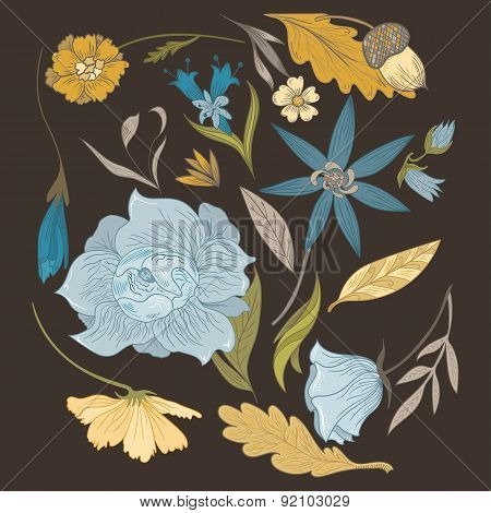 Set of Vintage Vector Flowers and Plants