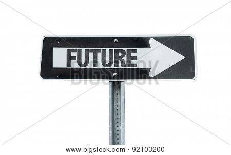Future direction sign isolated on white