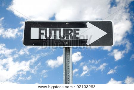Future direction sign with sky background