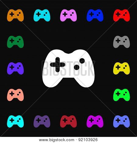 Joystick Icon Sign. Lots Of Colorful Symbols For Your Design. Vector