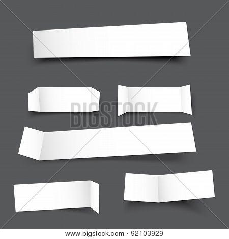 White Paper Banner Round Corner With Drop Shadows On Grey Background