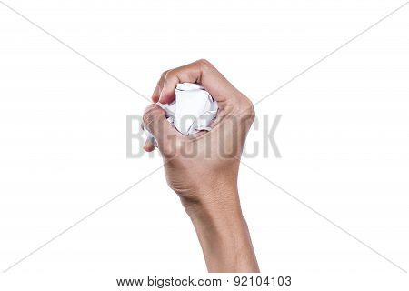 Hand Holding Crumpled Paper Isolated On White Background