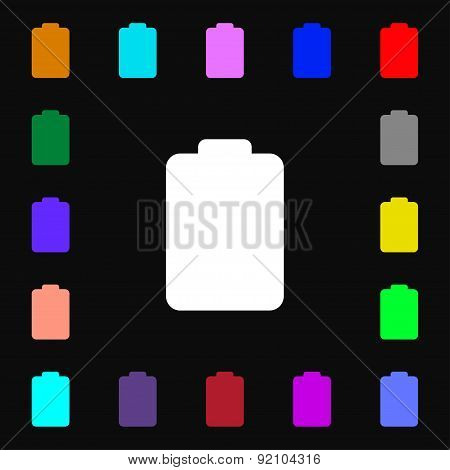 Battery Empty, Low Electricity Icon Sign. Lots Of Colorful Symbols For Your Design. Vector
