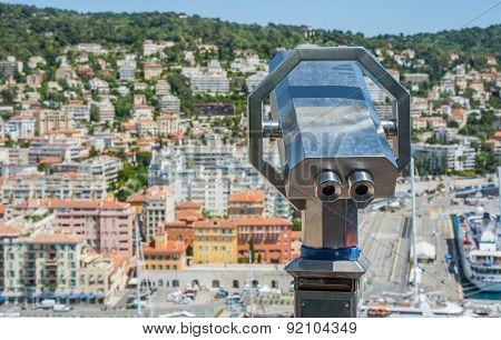 coin operated binoculars overlooking the port of Nice in France