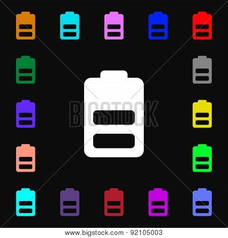 Battery Half Level, Low Electricity Icon Sign. Lots Of Colorful Symbols For Your Design. Vector