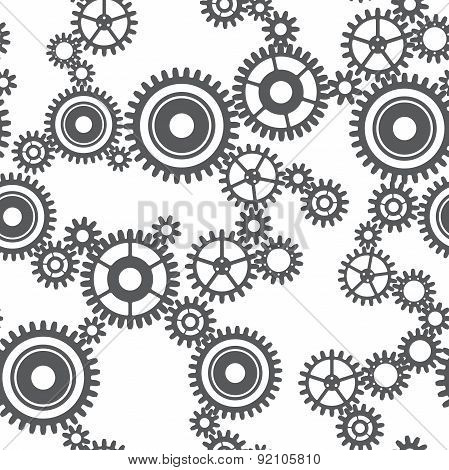 Seamless Pattern Of Gear Wheels