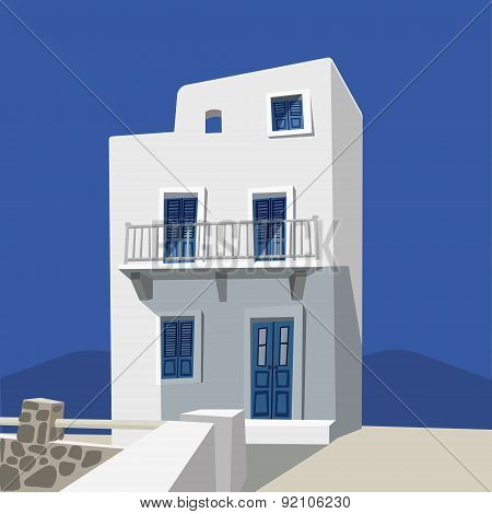 Hand Drawn Greek House, Vector Illustration Background