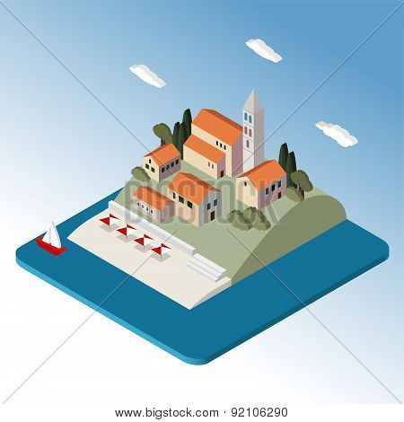 Isometric Mediterranean Landscape By Sea, Little Town, Vector