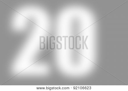 gray abstract background with defocused white international number 20 on the left,
