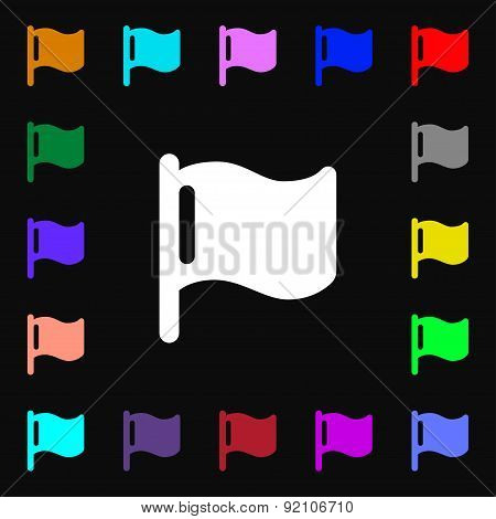 Flag Icon Sign. Lots Of Colorful Symbols For Your Design. Vector