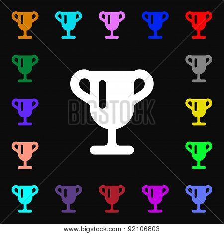 Winner Cup, Awarding Of Winners, Trophy Icon Sign. Lots Of Colorful Symbols For Your Design. Vector