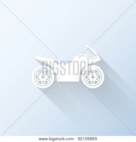 Flat Motorcycle Icon With Long Shadow. Vector Illustration