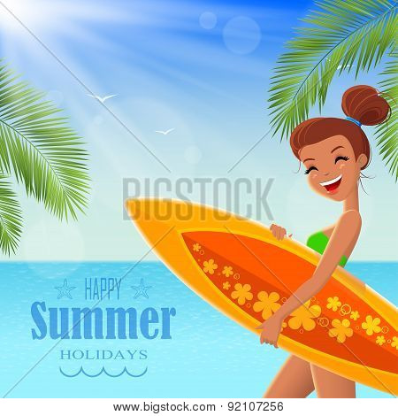 Summer Poster With Text Badge
