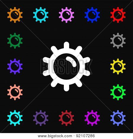 Sun Icon Sign. Lots Of Colorful Symbols For Your Design. Vector