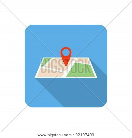 Flat Map Icon With Long Shadow. Vector Illustration