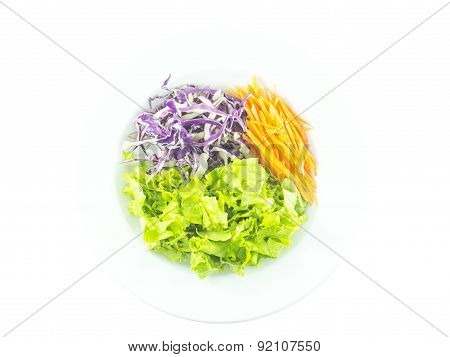 Colorful Salad With Carrot Cabbage And Lettuce