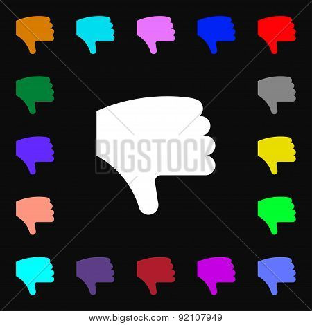 Dislike, Thumb Down, Hand Finger Down Icon Sign. Lots Of Colorful Symbols For Your Design. Vector