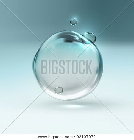 vector illustration of transparent fresh water bubbles