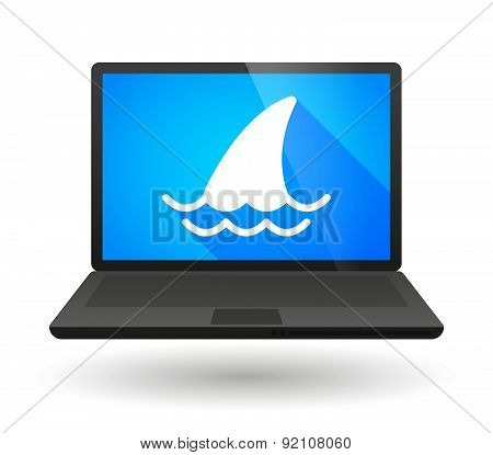 Laptop Icon With A Shark Fin