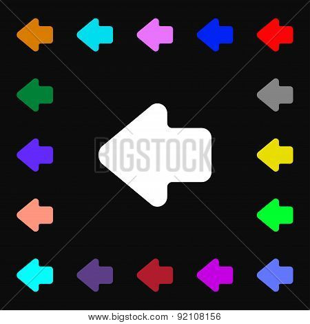 Arrow Left, Way Out Icon Sign. Lots Of Colorful Symbols For Your Design. Vector