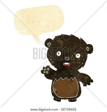 cartoon worried black bear with speech bubble